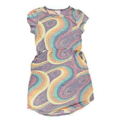 LuLaRoe Kids Mae Geometric Purple Orange Yellow Pocket Dress Size 12 fits Kids 12-14