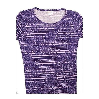 LuLaRoe GIGI Large L Floral Stripe Fitted Tee fits Women sizes 12-14