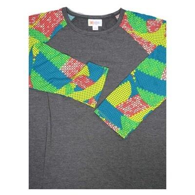 LuLaRoe Randy Small S Polka Dot Geometric Raglan Sleeve Unisex Baseball Womens Tee Shirt - S fits 6-8