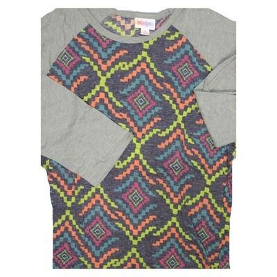 LuLaRoe Randy Small S Trippy Geometric Raglan Sleeve Unisex Baseball Womens Tee Shirt - S fits 6-8