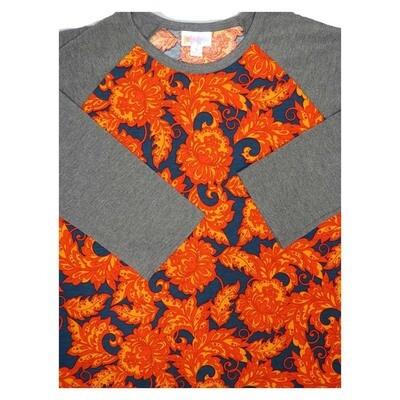 LuLaRoe Randy Small S Floral Raglan Sleeve Unisex Baseball Womens Tee Shirt - S fits 6-8