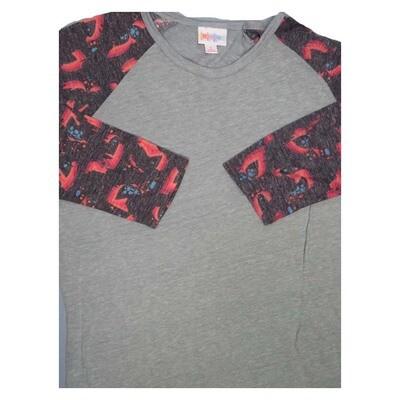 LuLaRoe Randy Small S Floral Geometric Raglan Sleeve Unisex Baseball Womens Tee Shirt - S fits 6-8