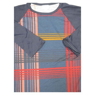 LuLaRoe Randy Small S Stripe Plaid Raglan Sleeve Unisex Baseball Womens Tee Shirt - S fits 6-8