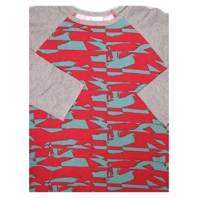 LuLaRoe Randy Small S Red Gray Geometric Raglan Sleeve Unisex Baseball Womens Tee Shirt - S fits 6-8