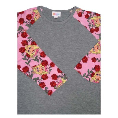 LuLaRoe Randy Small S Disney Muppets Miss Piggy Red Roses Raglan Sleeve Unisex Baseball Womens Tee Shirt - S fits 6-8