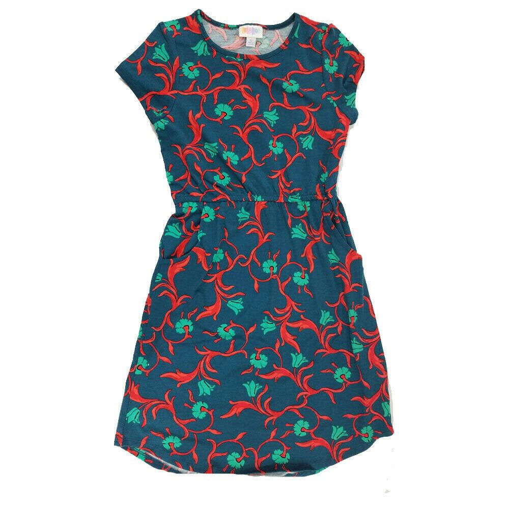 LuLaRoe Kids Mae Floral Dark Blue Red Pocket Dress Size 12 fits Kids 12-14