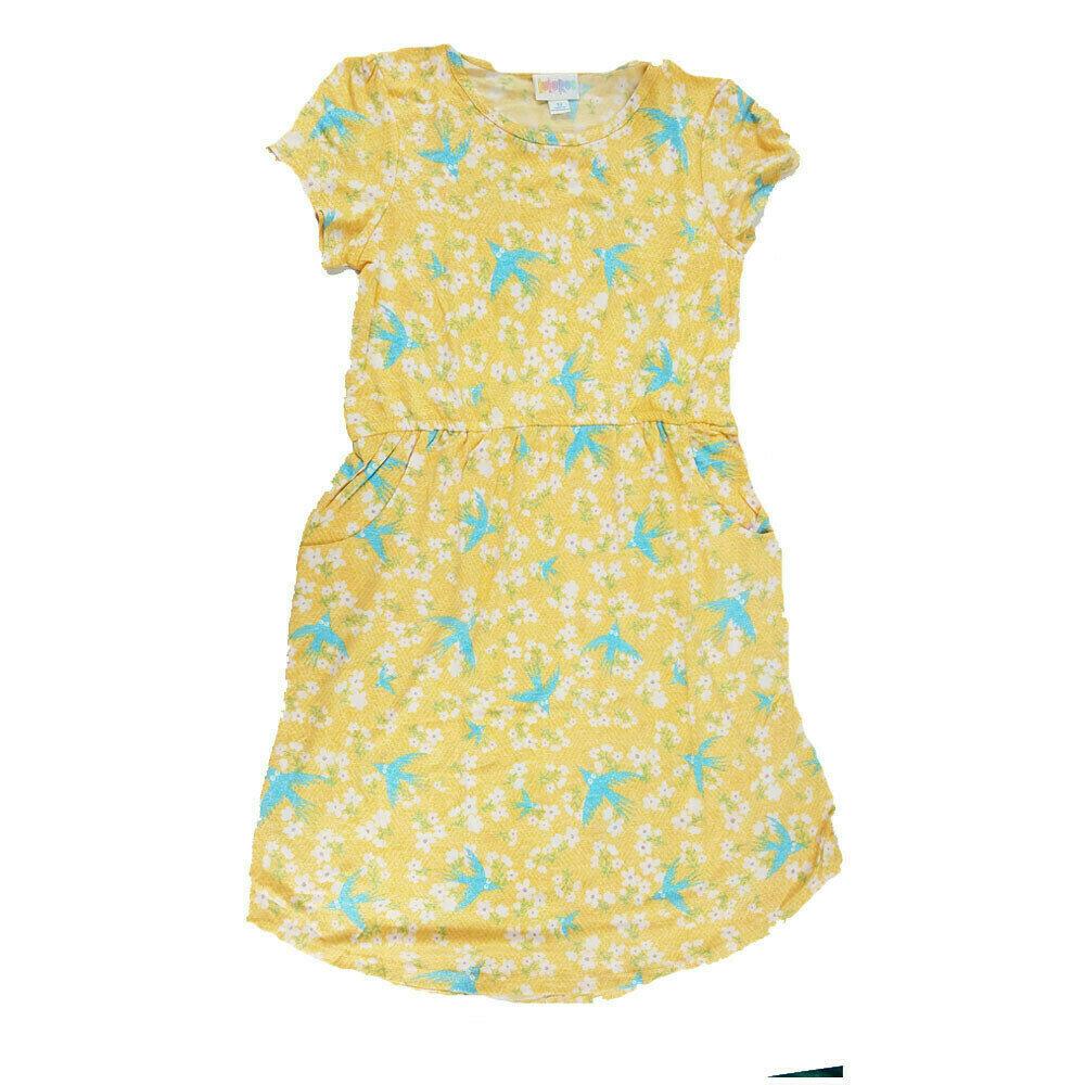 LuLaRoe Kids Mae Yellow Light Blue Birds Pocket Dress Size 12 fits Kids 12-14