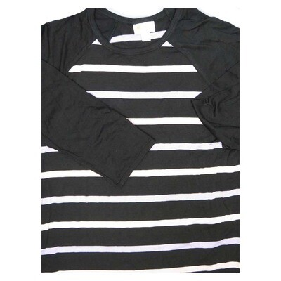 LuLaRoe Randy Small S Black White Stripe Raglan Sleeve Unisex Baseball Womens Tee Shirt - S fits 6-8