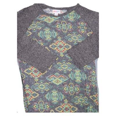 LuLaRoe Randy X-Small Trippy 70s Psychedelic Geometric Raglan Sleeve Unisex Baseball Womens Tee Shirt - XS fits 2-4