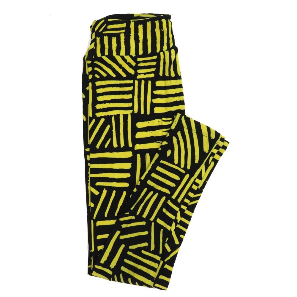 LuLaRoe One Size OS StripesBlack Yellow Buttery Soft Womens Leggings fit Adult sizes 2-10  OS-4351-BF
