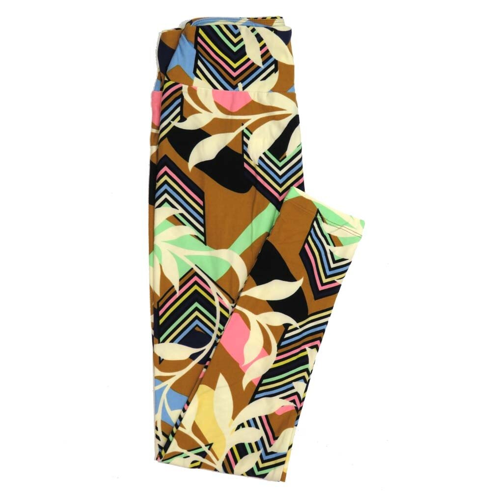 LuLaRoe One Size OS Black Green Floral Blue Cream Chevrons Buttery Soft Womens Leggings fit Adult sizes 2-10  OS-4352-AK