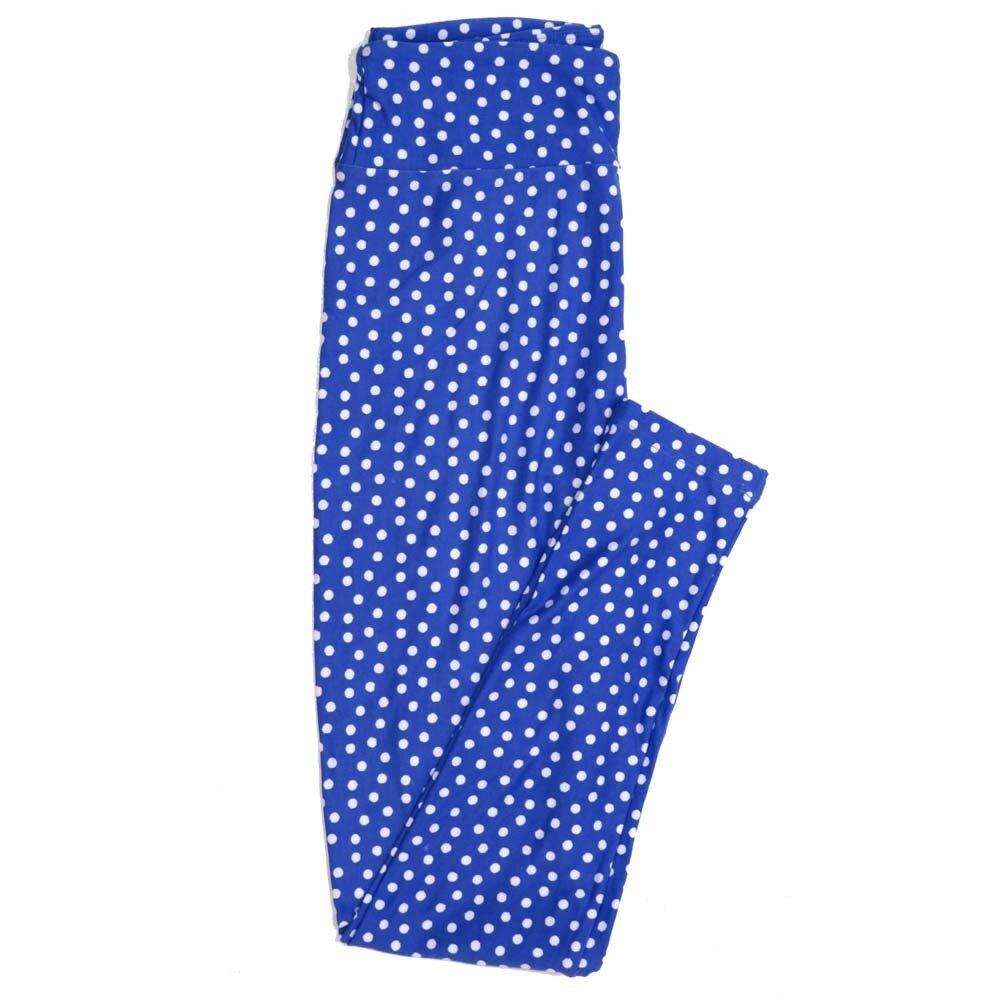 LuLaRoe One Size OS Blue White Polka Dot Buttery Soft Womens Leggings fit Adult sizes 2-10  OS-4353-AI