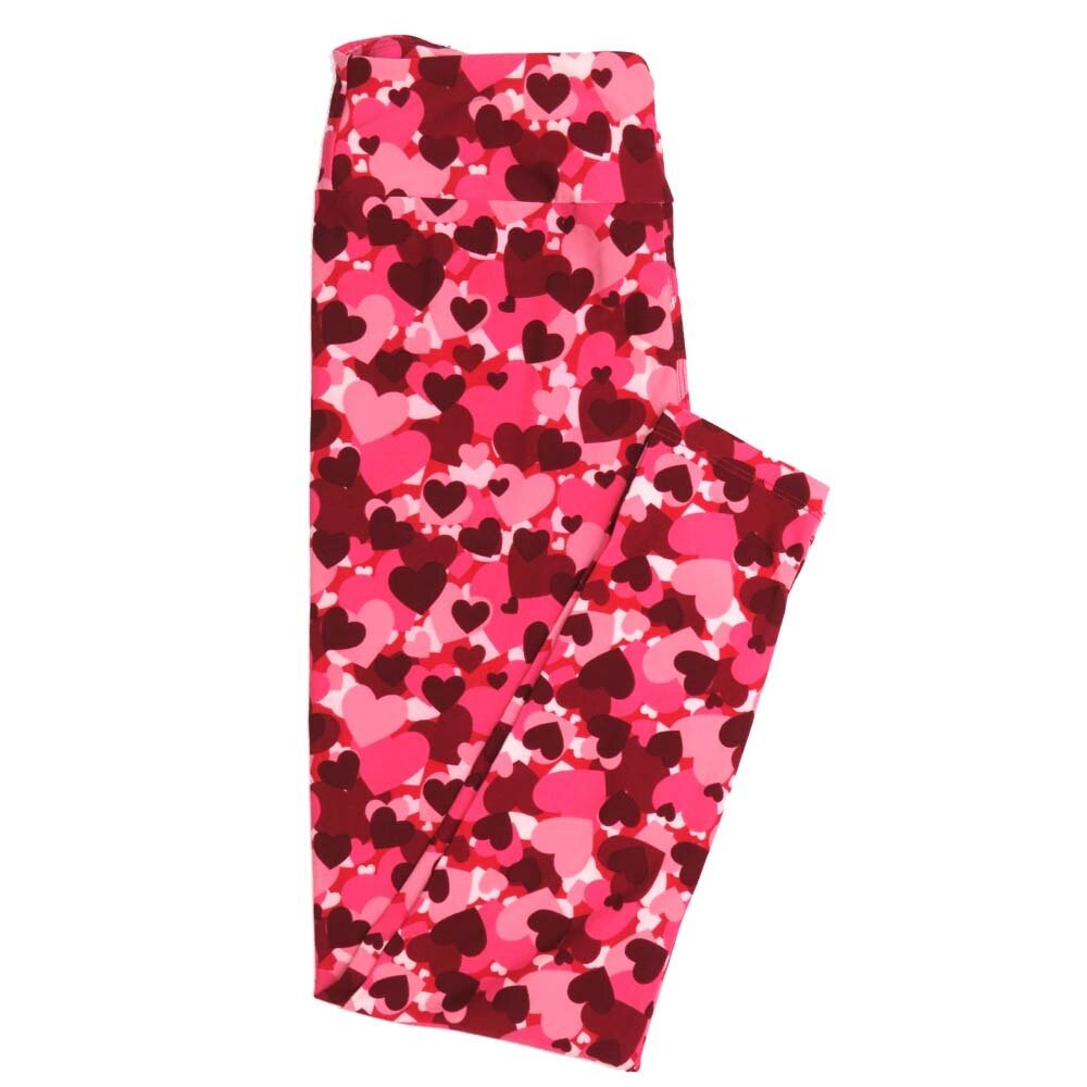 LuLaRoe One Size OS Dark Red Pink Red Collage Hearts of All Sizes Valentines Love Hearts Buttery Soft Womens Leggings fit Adult sizes 2-10  OS-4353-AM