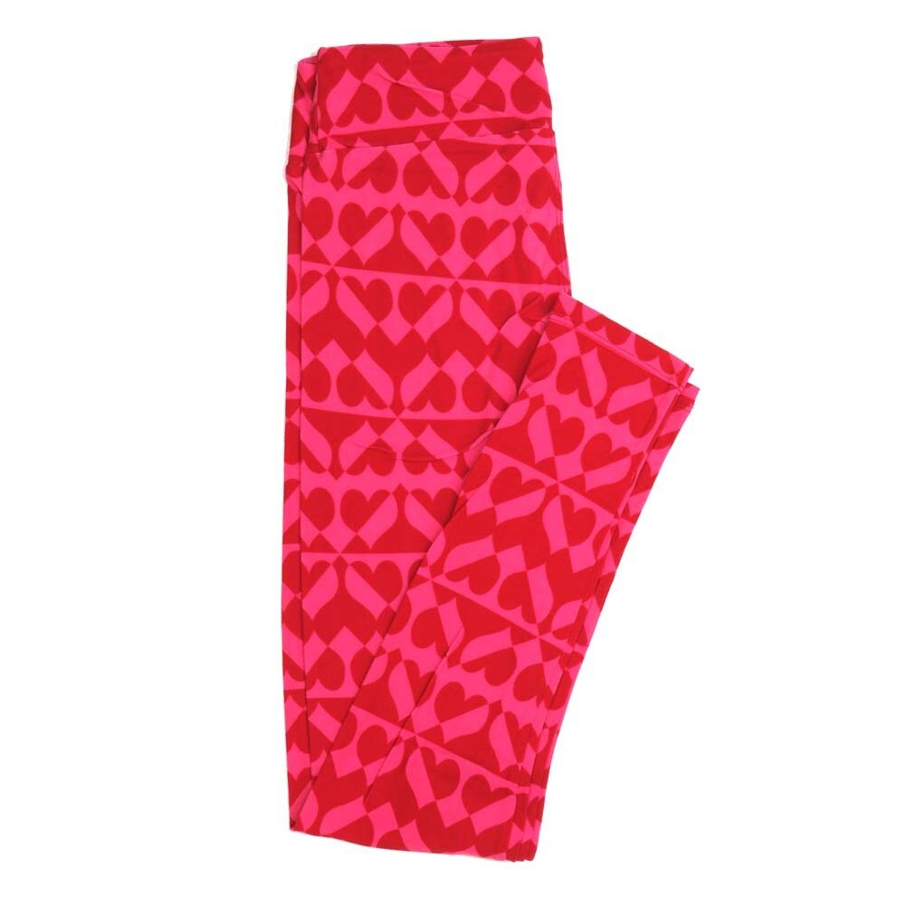 LuLaRoe One Size OS Two Tone Hearts Stripes Valentines Love Hearts Buttery Soft Womens Leggings fit Adult sizes 2-10  OS-4353-AX