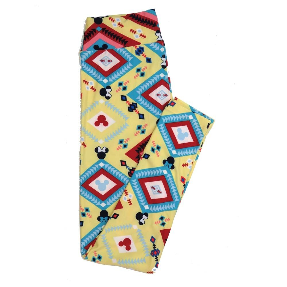 LuLaRoe One Size OS Disney Mickey and Minnie Mouse Gods Eye Diamond Buttery Soft Womens Leggings fit Adult sizes 2-10  OS-4354-AH