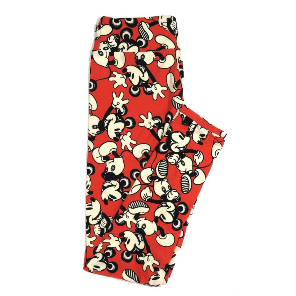 LuLaRoe One Size OS Disney Mickey Mouse Waving and Smiling Buttery Soft Womens Leggings fit Adult sizes 2-10  OS-4354-AL