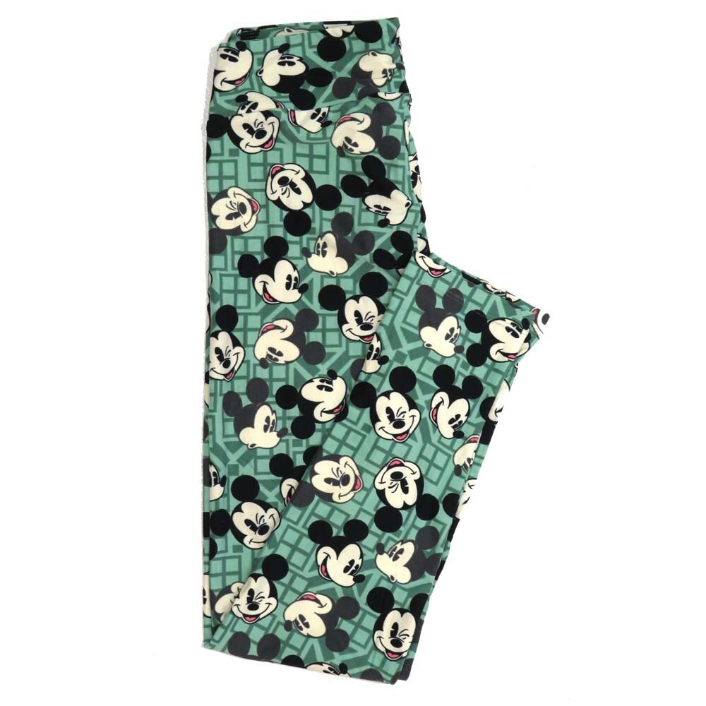 LuLaRoe One Size OS Disney Mickey Mouse Winking Smiling Oohing Buttery Soft Womens Leggings fit Adult sizes 2-10  OS-4354-AM