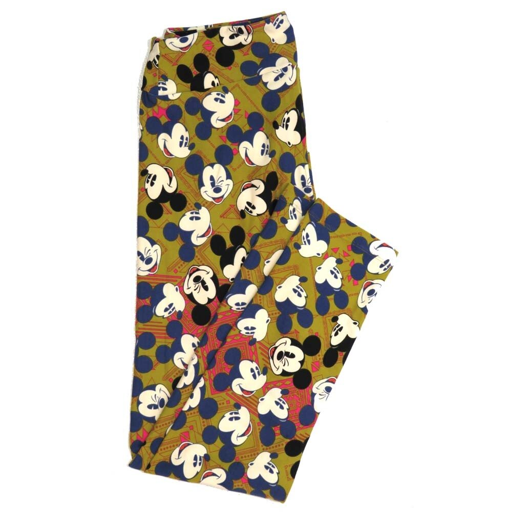 LuLaRoe One Size OS Disney Mickey Mouse Winking Smiling Oohing Geometric Buttery Soft Womens Leggings fit Adult sizes 2-10  OS-4354-AO