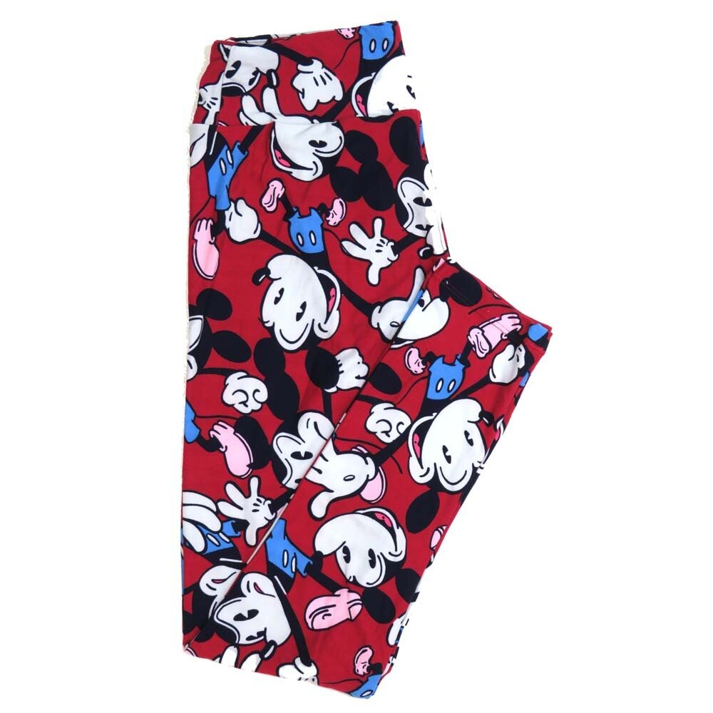 LuLaRoe One Size OS Disney Mickey Mouse Happy Mad Red Black White Blue Buttery Soft Womens Leggings fit Adult sizes 2-10  OS-4354-AT