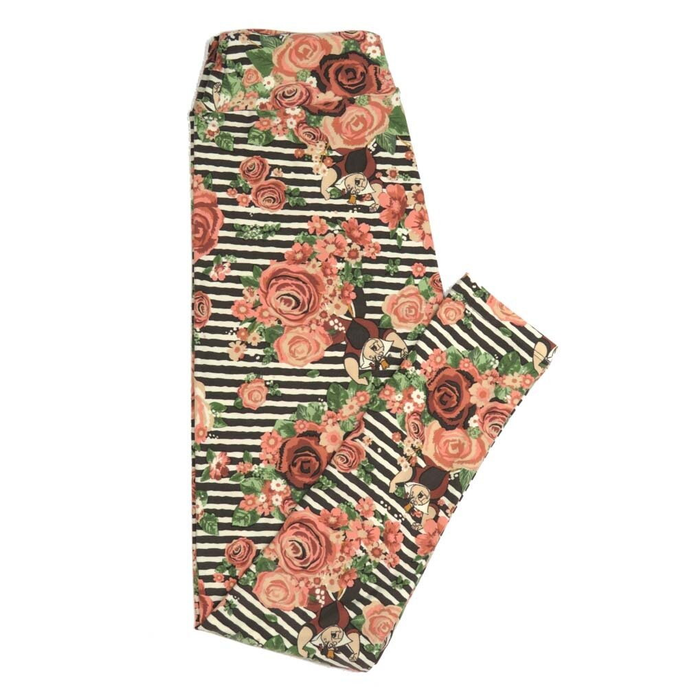 LuLaRoe One Size OS Disney Queen of Hearts Roses Striped from Alice in Wonderland Buttery Soft Womens Leggings fit Adult sizes 2-10  OS-4355-AU
