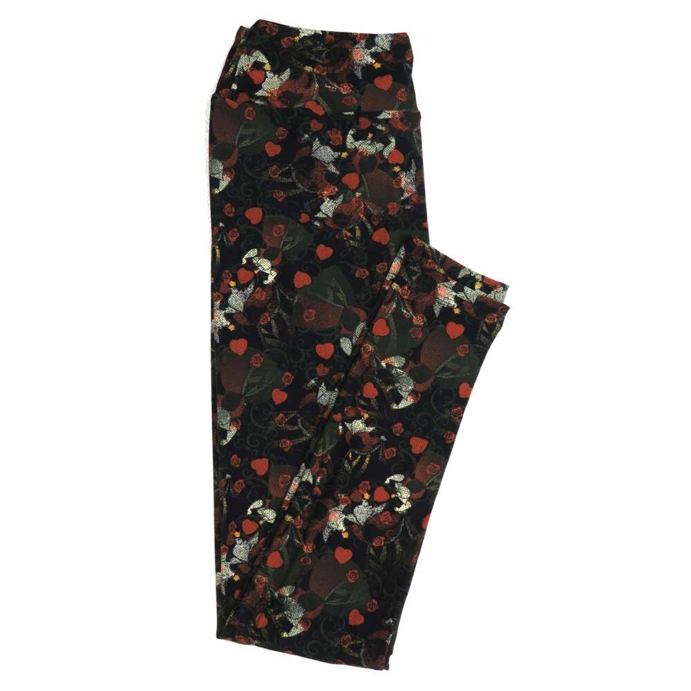 LuLaRoe One Size OS Disney Queen of Hearts Black Red White Micro Polka Dot from Alice in Wonderland Buttery Soft Womens Leggings fit Adult sizes 2-10  OS-4355-AW-8
