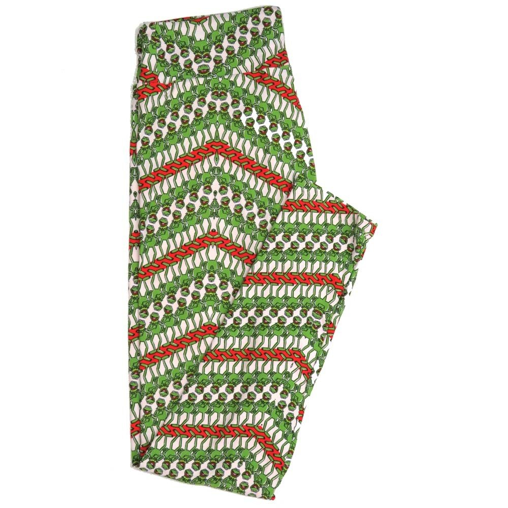 LuLaRoe One Size OS Disney Muppets Kermit the Forg Multiple Green White Buttery Soft Womens Leggings fit Adult sizes 2-10  OS-4356-BB