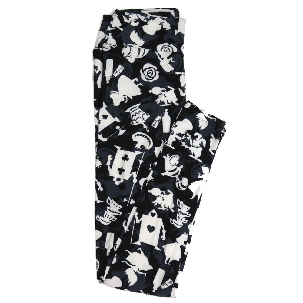 LuLaRoe One Size OS Disney Alice in Wonderland Tea Cups Cheshire Cat Roses Buttery Soft Womens Leggings fit Adult sizes 2-10  OS-4356-BC