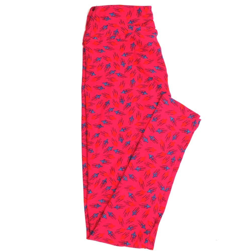 LuLaRoe One Size OS Flying Jets Buttery Soft Womens Leggings fit Adult sizes 2-10  OS-4357-AG