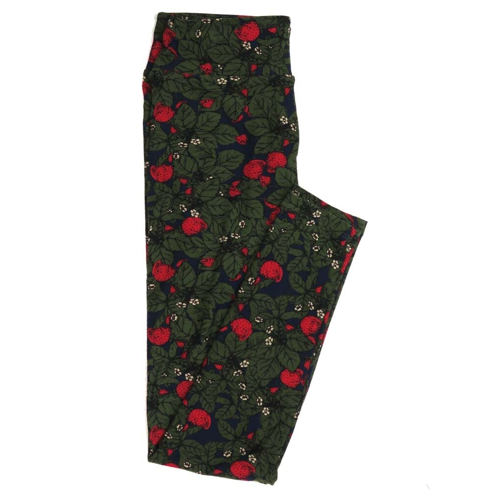 LuLaRoe One Size OS Flowering Strawberries Buttery Soft Womens Leggings fit Adult sizes 2-10  OS-4357-AK