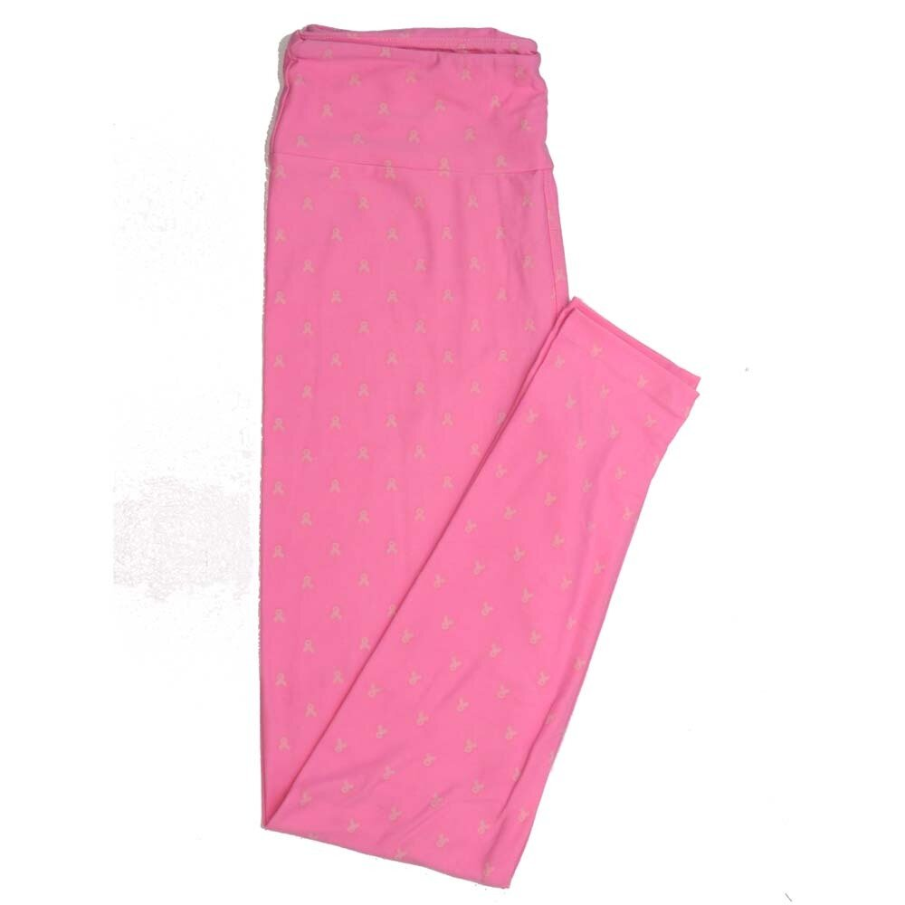 LuLaRoe One Size OS Breast Cancer Awareness Ribbons Buttery Soft Womens Leggings fit Adult sizes 2-10  OS-4357-AQ