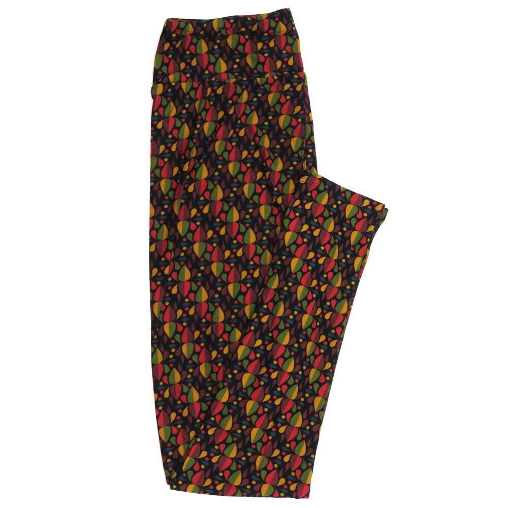 LuLaRoe One Size OS Mandala Teardrop Black Orange Red Buttery Soft Womens Leggings fit Adult sizes 2-10  OS-4358-BC