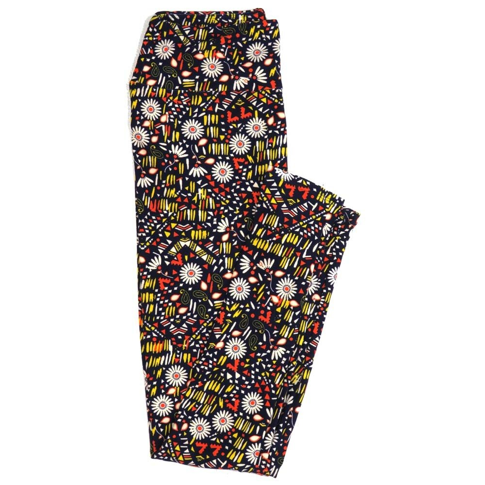 LuLaRoe One Size OS Paisley Daisy Floral Polka Dot Black White Yellow TeePee Buttery Soft Womens Leggings fit Adult sizes 2-10  OS-4358-BE
