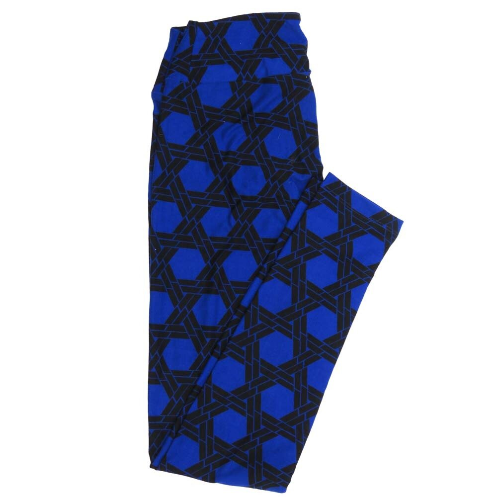 LuLaRoe One Size OS Hexagon Interwoven Lace Blue Black Buttery Soft Womens Leggings fit Adult sizes 2-10  OS-4358-BF