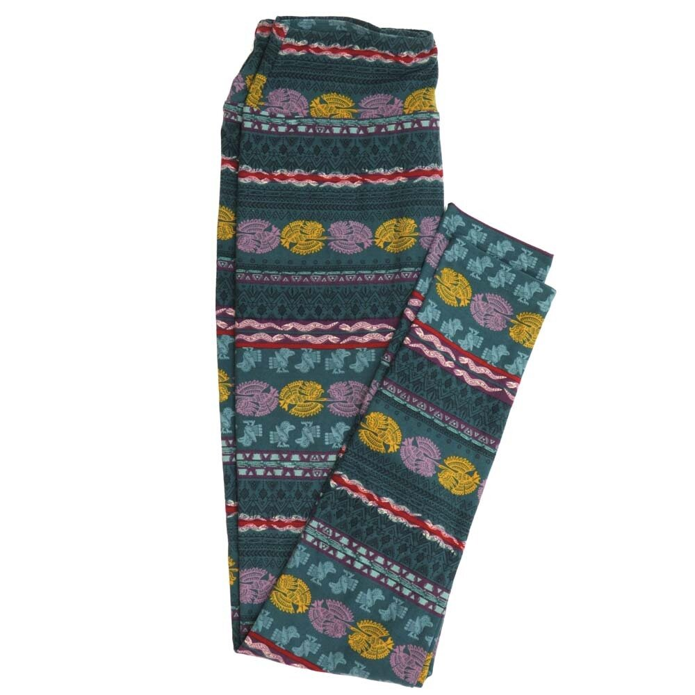 LuLaRoe One Size OS South American Incan Mayan Birds Pyramids Stripe Buttery Soft Womens Leggings fit Adult sizes 2-10  OS-4358-BJ