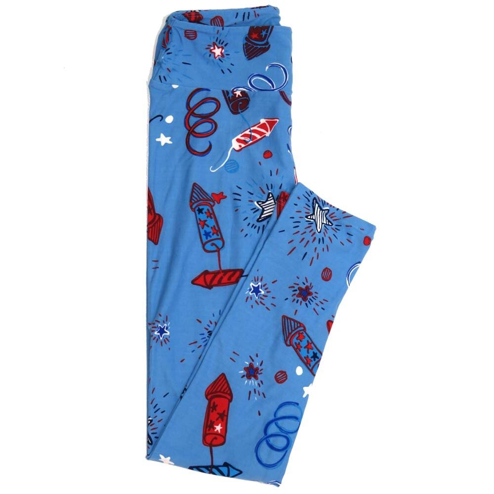 LuLaRoe One Size OS Americana Fireworks Stars Blue White Red Black USA Buttery Soft Womens Leggings fit Adult sizes 2-10  OS-4359-AC