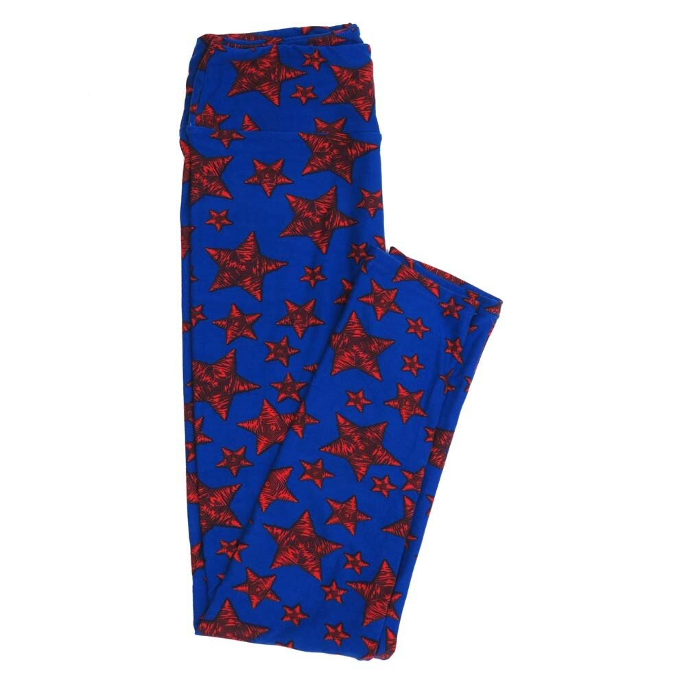 LuLaRoe One Size OS Americana USA Blue Red Black Stars Buttery Soft Womens Leggings fit Adult sizes 2-10  OS-4359-AK