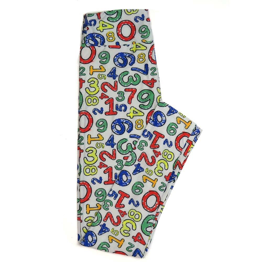 LuLaRoe One Size OS Numers 0 thru 9 Teachers School Math Blue Red White Green Yellow Buttery Soft Womens Leggings fit Adult sizes 2-10  OS-4359-AN