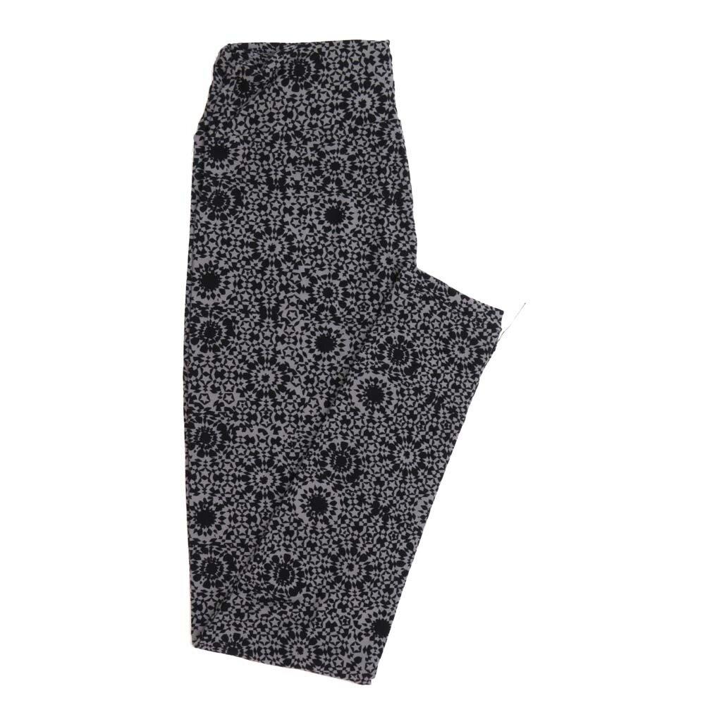 LuLaRoe One Size OS Mandala Black Gray Buttery Soft Womens Leggings fit Adult sizes 2-10  OS-4359-BI