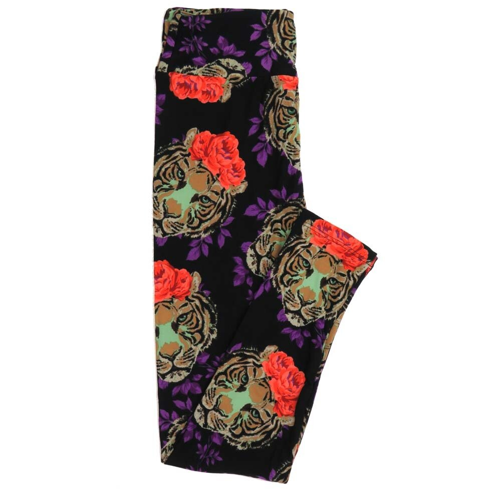 LuLaRoe One Size OS Bengal Tiger Roses Buttery Soft Womens Leggings fit Adult sizes 2-10  OS-4360-AH
