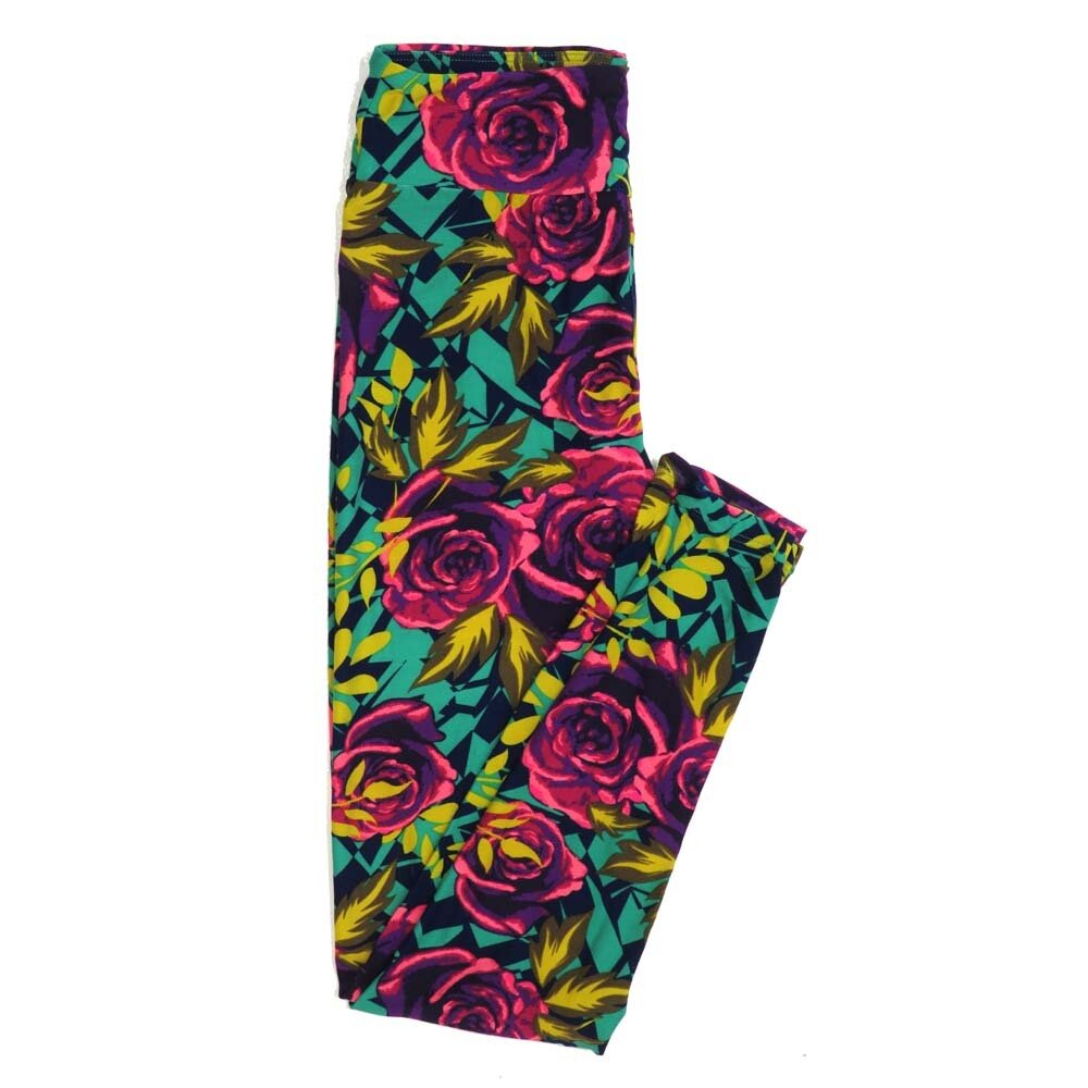LuLaRoe One Size OS Roses Buttery Soft Womens Leggings fit Adult sizes 2-10  OS-4362-AB