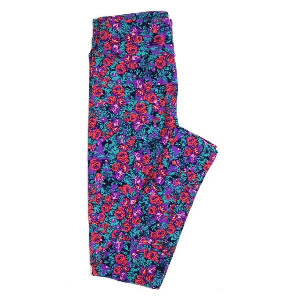 LuLaRoe One Size OS Roses Buttery Soft Womens Leggings fit Adult sizes 2-10  OS-4362-AD