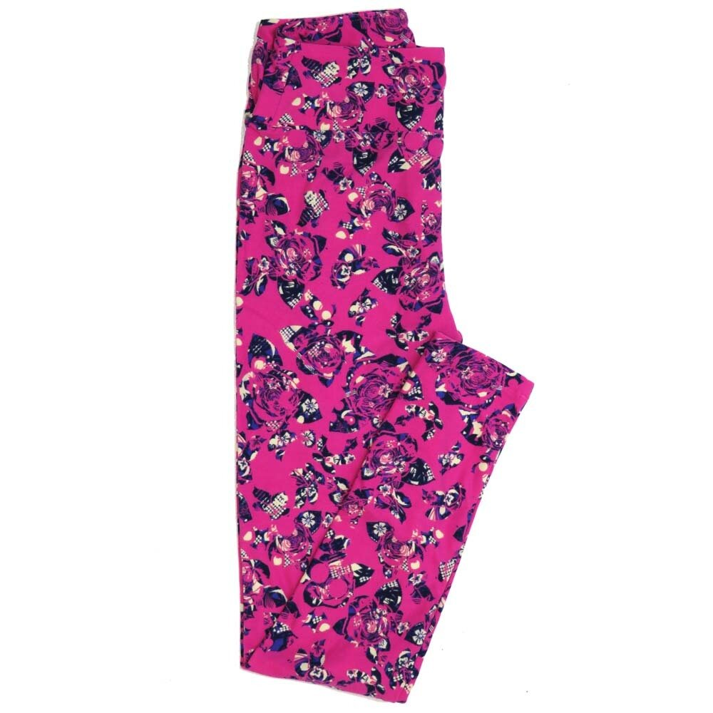 LuLaRoe One Size OS Roses Buttery Soft Womens Leggings fit Adult sizes 2-10  OS-4362-AM