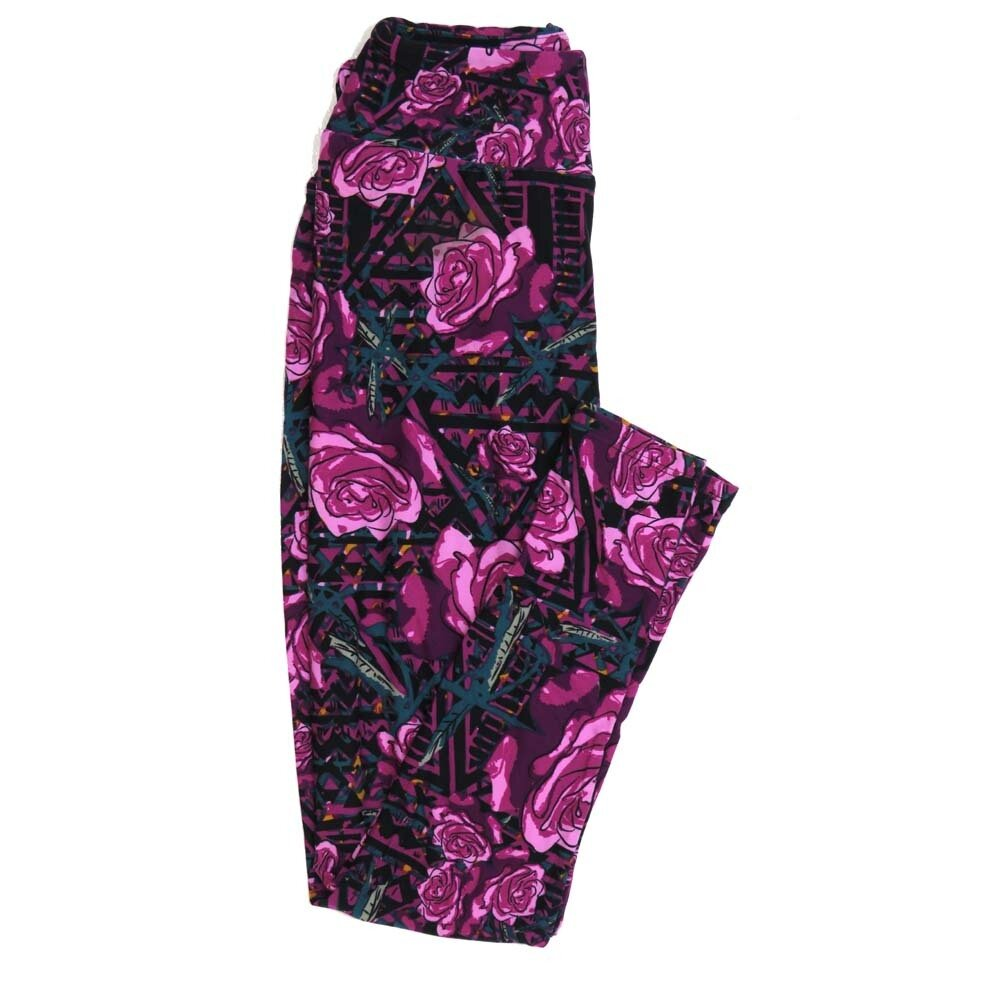 LuLaRoe One Size OS Roses Buttery Soft Womens Leggings fit Adult sizes 2-10  OS-4362-AR