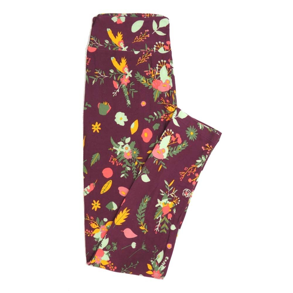 LuLaRoe One Size OS Floral Buttery Soft Womens Leggings fit Adult sizes 2-10  OS-4364-AG