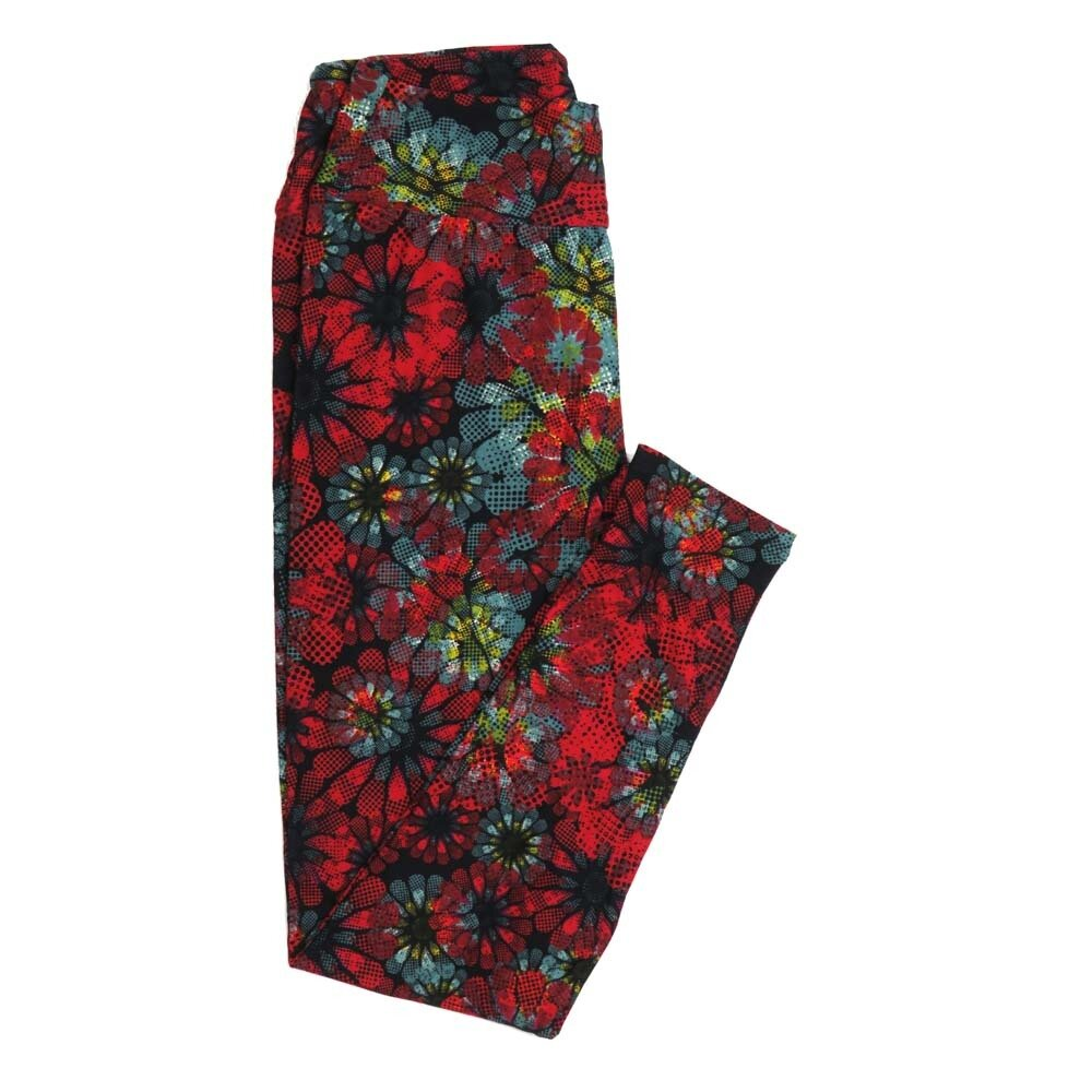 LuLaRoe One Size OS Floral Buttery Soft Womens Leggings fit Adult sizes 2-10  OS-4364-AQ
