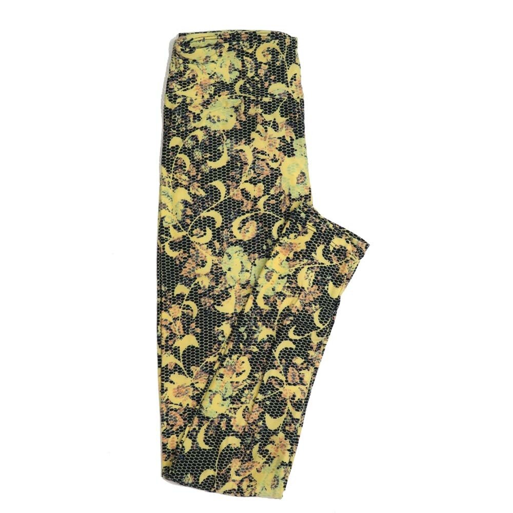 LuLaRoe One Size OS Floral Buttery Soft Womens Leggings fit Adult sizes 2-10  OS-4365-AQ