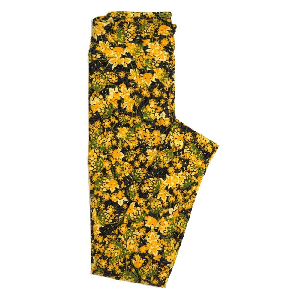 LuLaRoe One Size OS Floral Buttery Soft Womens Leggings fit Adult sizes 2-10  OS-4365-BI
