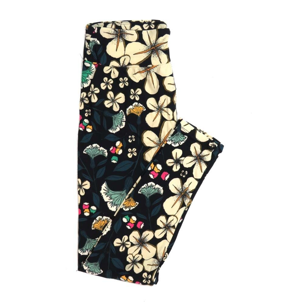 LuLaRoe One Size OS Floral Buttery Soft Womens Leggings fit Adult sizes 2-10  OS-4366-BC