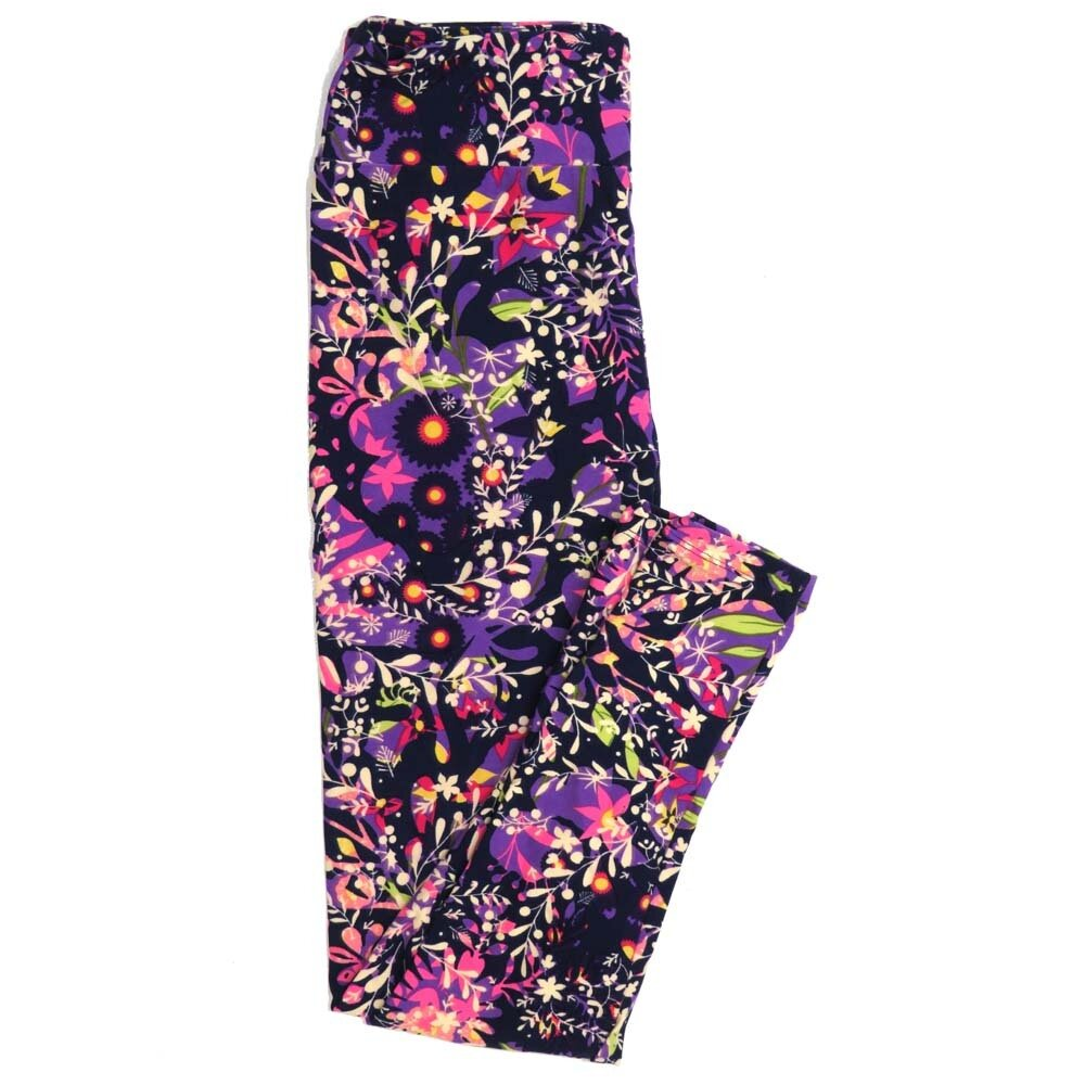 LuLaRoe One Size OS Floral Buttery Soft Womens Leggings fit Adult sizes 2-10  OS-4367-AF