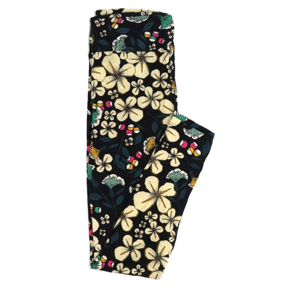 LuLaRoe One Size OS Floral Buttery Soft Womens Leggings fit Adult sizes 2-10  OS-4367-AS